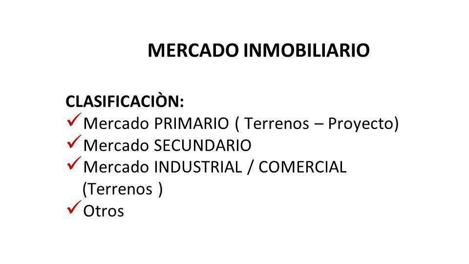 MERCADO INMOBILIARIO CLASIFICACIÒN: