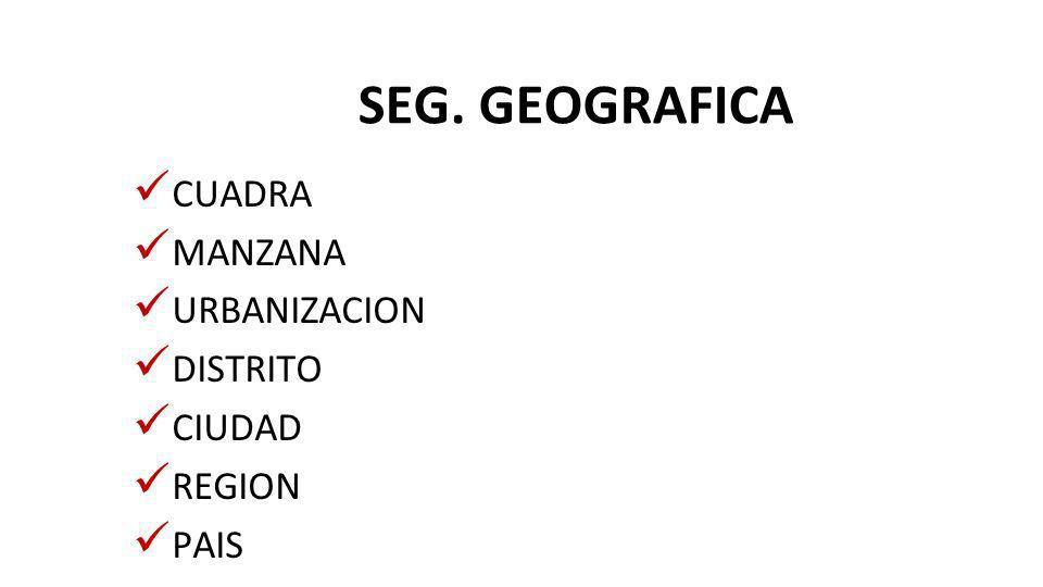 SEG. GEOGRAFICA CUADRA MANZANA URBANIZACION DISTRITO CIUDAD REGION