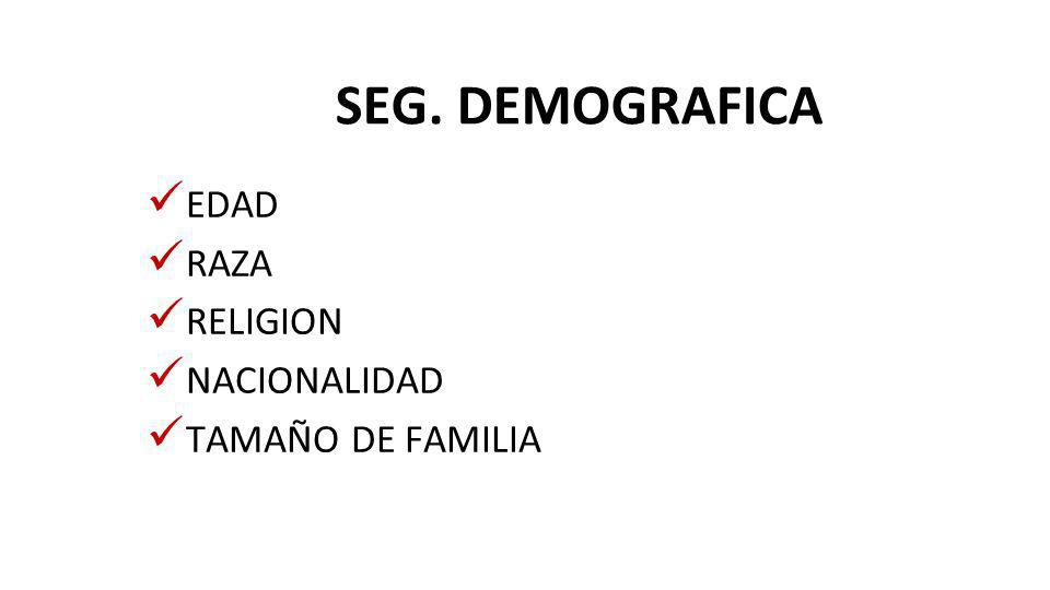 SEG. DEMOGRAFICA EDAD RAZA RELIGION NACIONALIDAD TAMAÑO DE FAMILIA