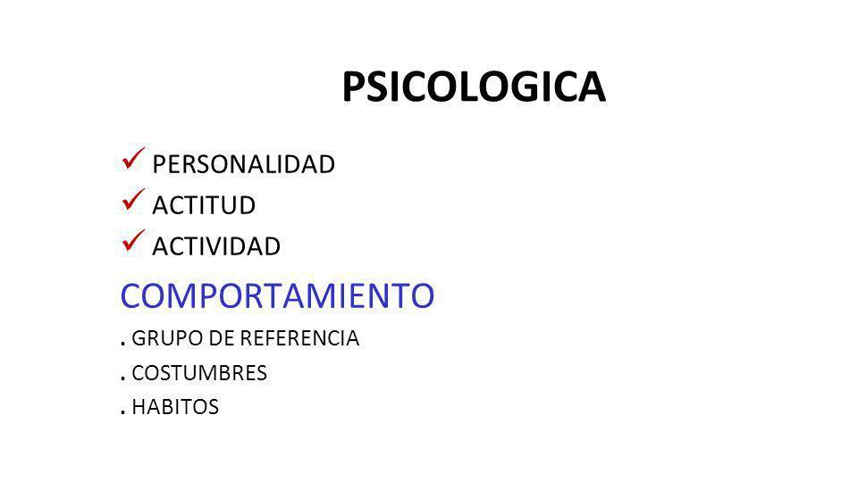 PSICOLOGICA COMPORTAMIENTO PERSONALIDAD ACTITUD ACTIVIDAD