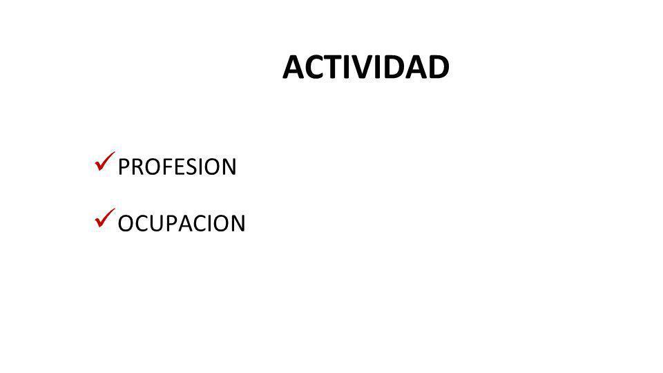 ACTIVIDAD PROFESION OCUPACION