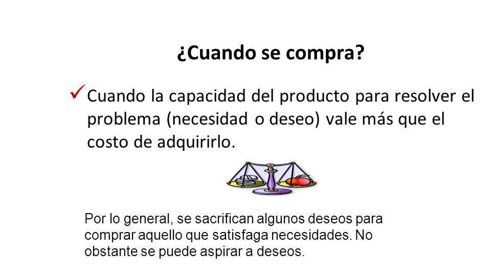 ¿Cuando se compra Cuando la capacidad del producto para resolver el problema (necesidad o deseo) vale más que el costo de adquirirlo.