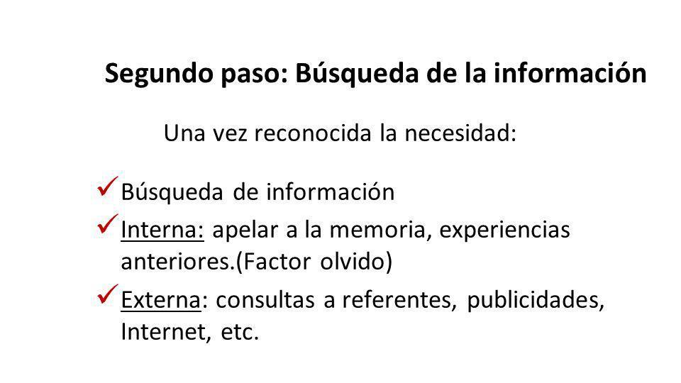 Segundo paso: Búsqueda de la información
