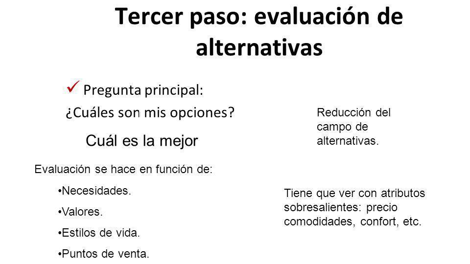Tercer paso: evaluación de alternativas
