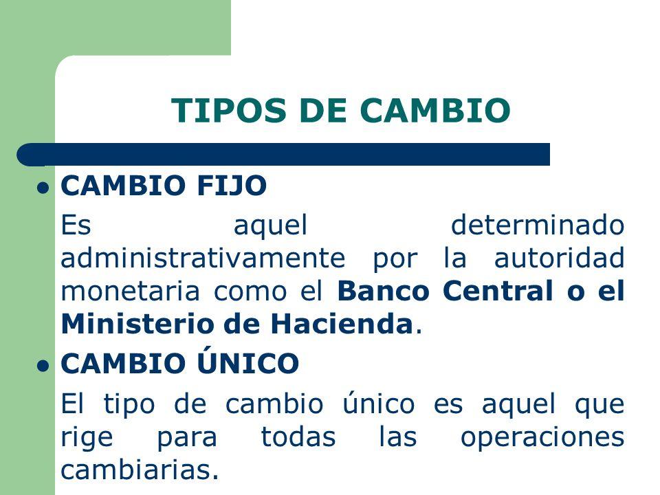 TIPOS DE CAMBIO CAMBIO FIJO