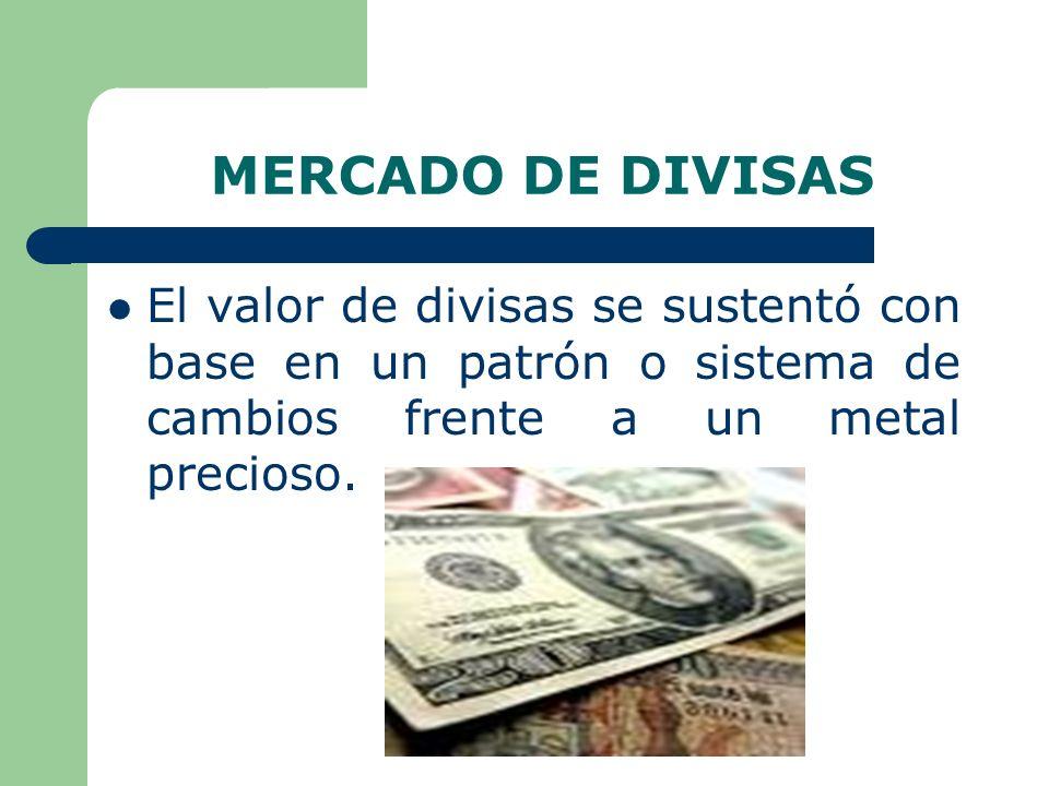 MERCADO DE DIVISAS El valor de divisas se sustentó con base en un patrón o sistema de cambios frente a un metal precioso.