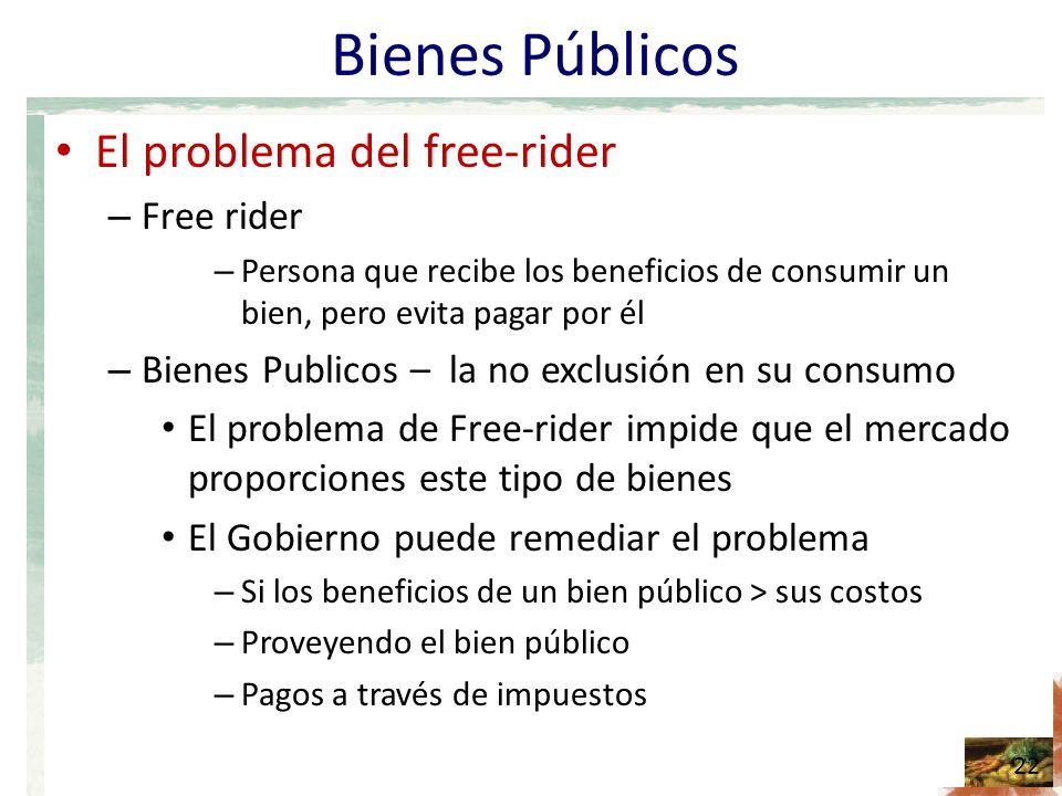 Bienes Públicos El problema del free-rider Free rider