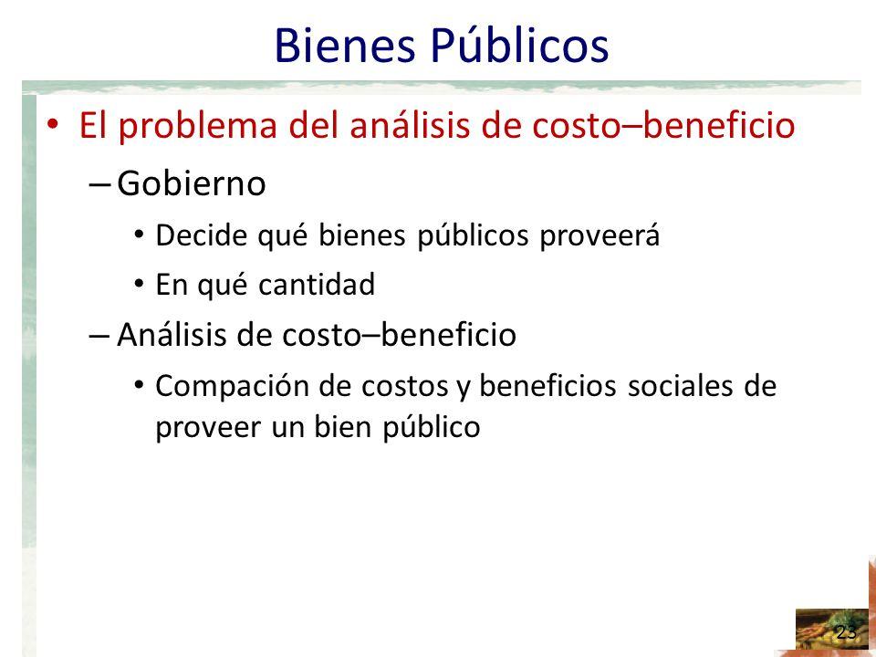 Bienes Públicos El problema del análisis de costo–beneficio Gobierno