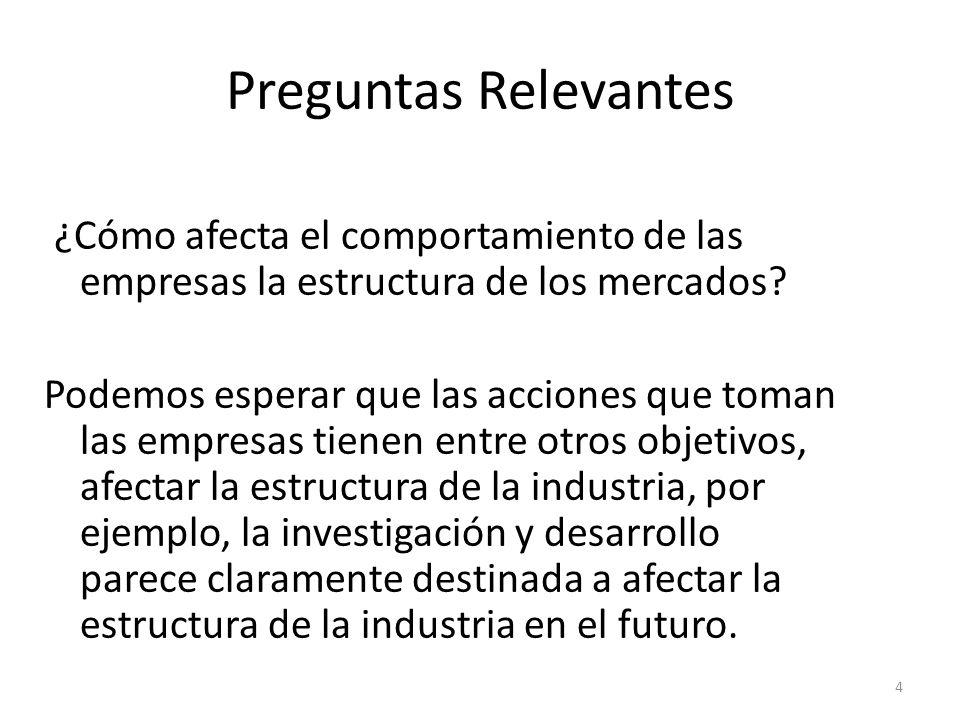 Preguntas Relevantes ¿Cómo afecta el comportamiento de las empresas la estructura de los mercados