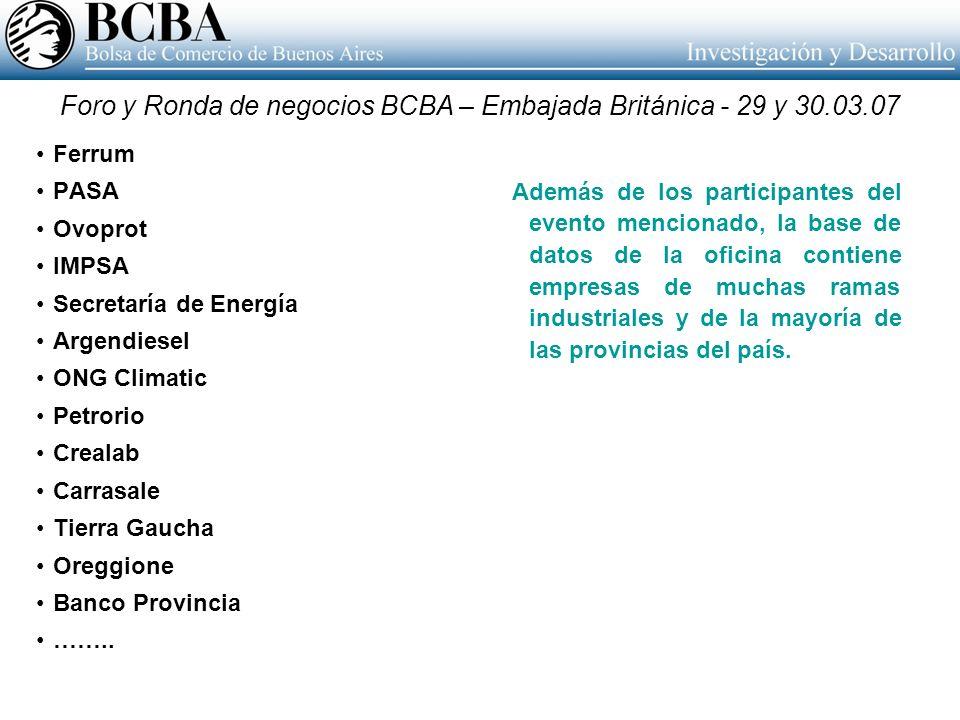 Foro y Ronda de negocios BCBA – Embajada Británica - 29 y 30.03.07