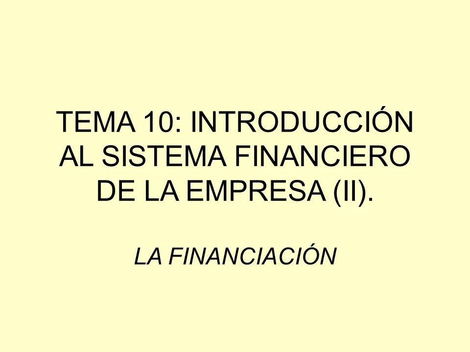 TEMA 10: INTRODUCCIÓN AL SISTEMA FINANCIERO DE LA EMPRESA (II)