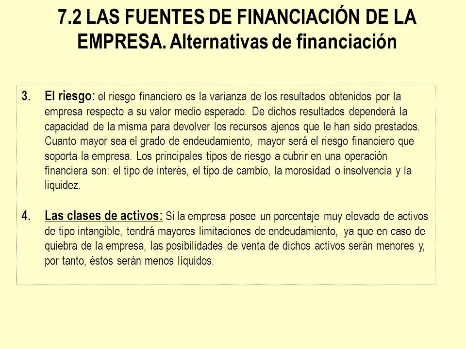 7. 2 LAS FUENTES DE FINANCIACIÓN DE LA EMPRESA