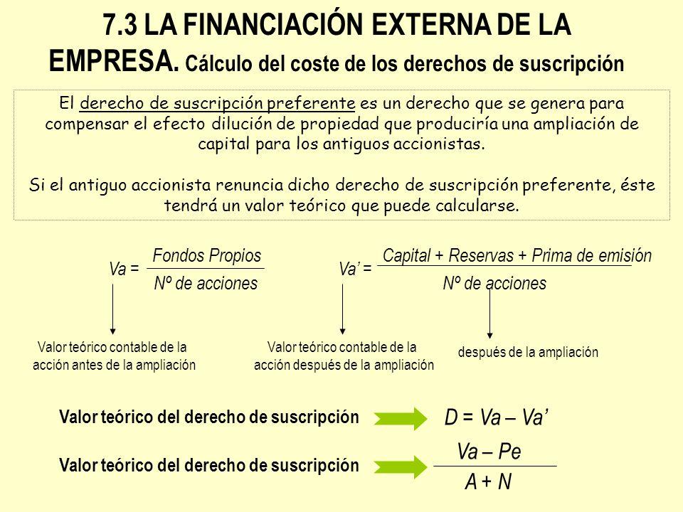 7. 3 LA FINANCIACIÓN EXTERNA DE LA EMPRESA