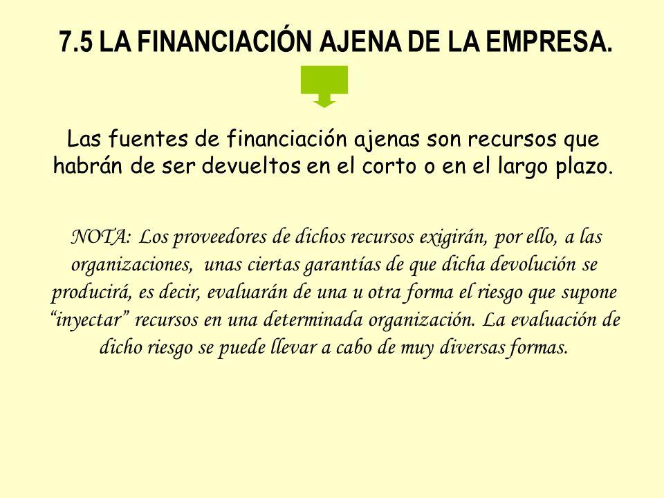 7.5 LA FINANCIACIÓN AJENA DE LA EMPRESA.