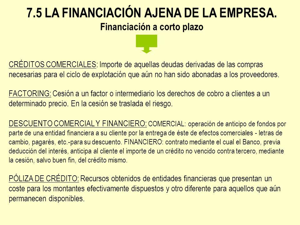 7.5 LA FINANCIACIÓN AJENA DE LA EMPRESA. Financiación a corto plazo