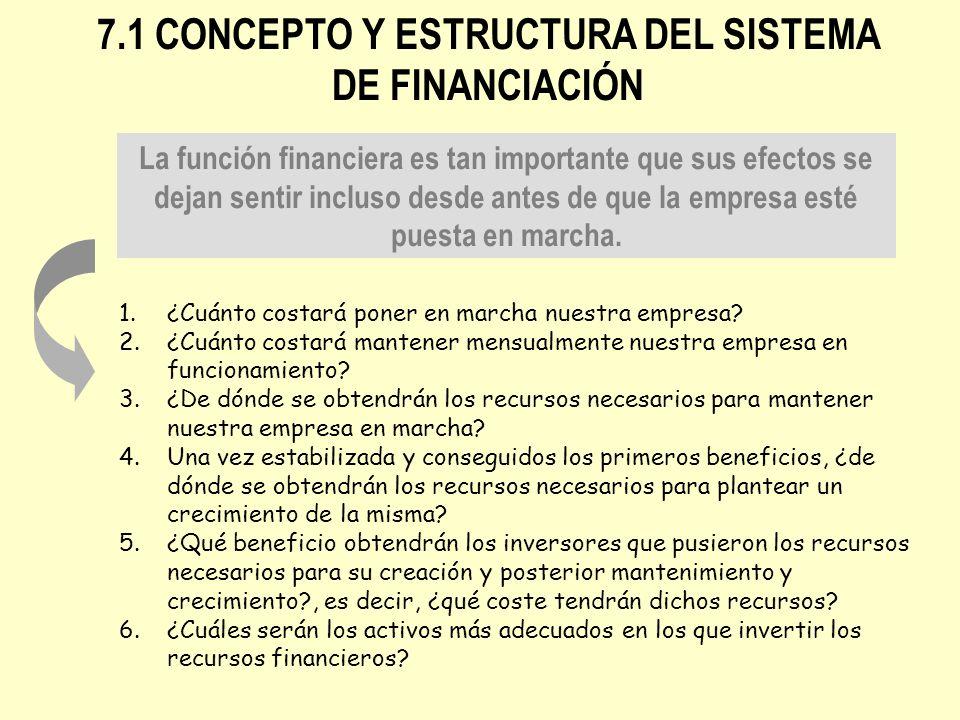 7.1 CONCEPTO Y ESTRUCTURA DEL SISTEMA DE FINANCIACIÓN