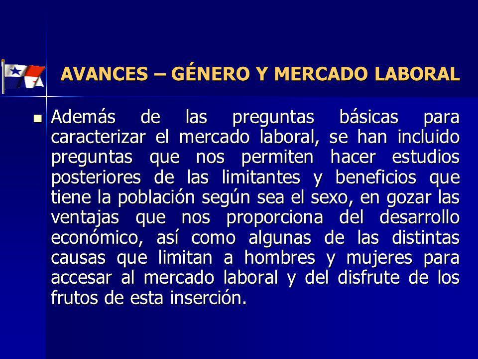 AVANCES – GÉNERO Y MERCADO LABORAL