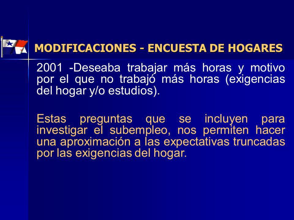 MODIFICACIONES - ENCUESTA DE HOGARES