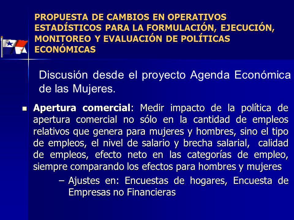 Discusión desde el proyecto Agenda Económica de las Mujeres.