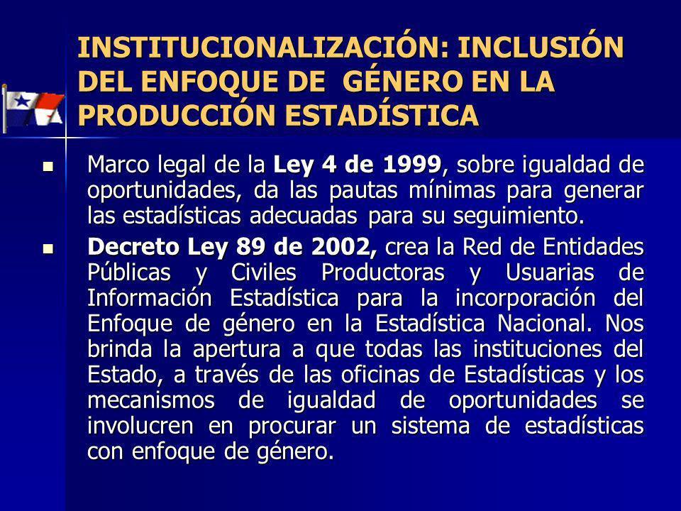 INSTITUCIONALIZACIÓN: INCLUSIÓN DEL ENFOQUE DE GÉNERO EN LA PRODUCCIÓN ESTADÍSTICA