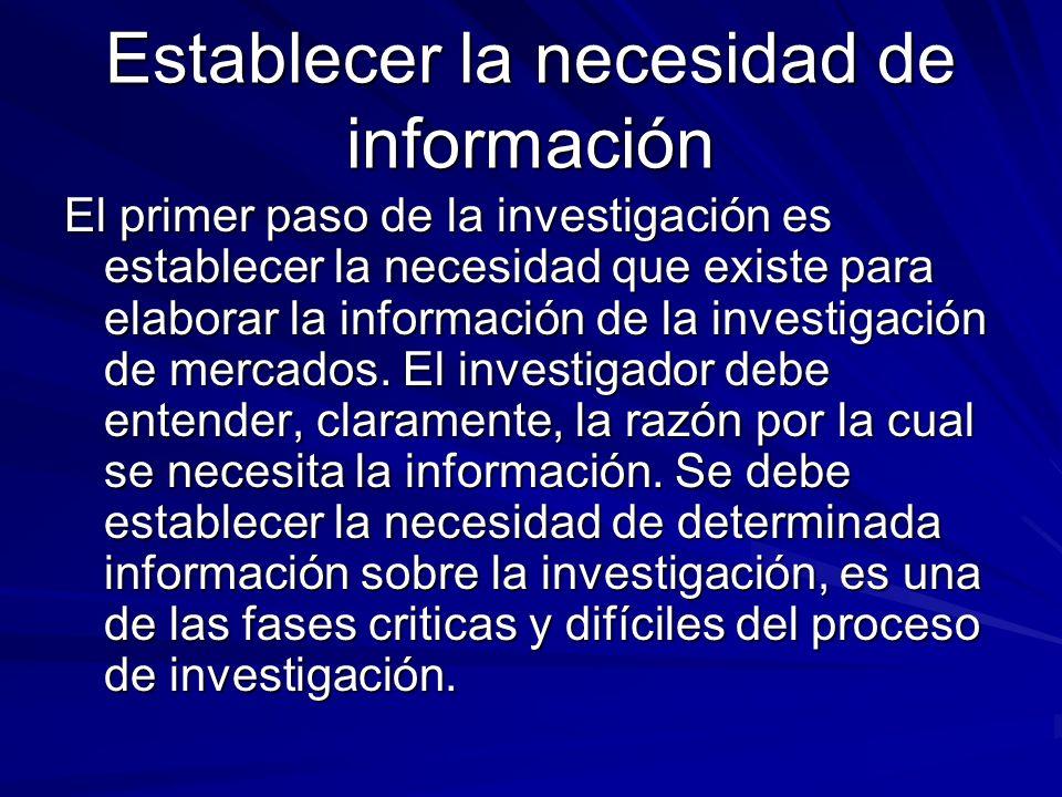 Establecer la necesidad de información