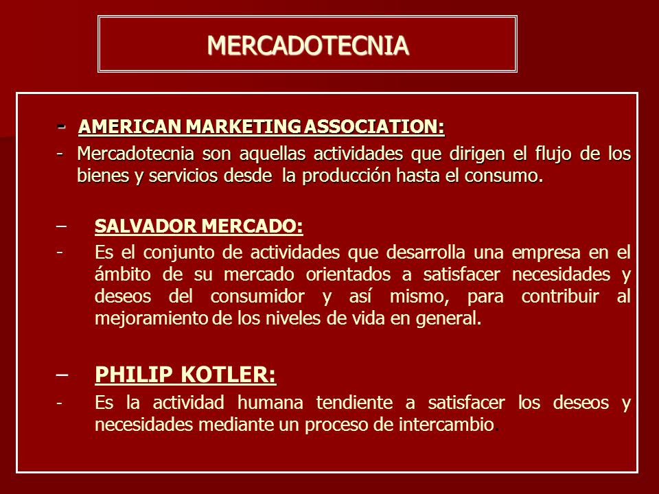 MERCADOTECNIA - AMERICAN MARKETING ASSOCIATION: PHILIP KOTLER: