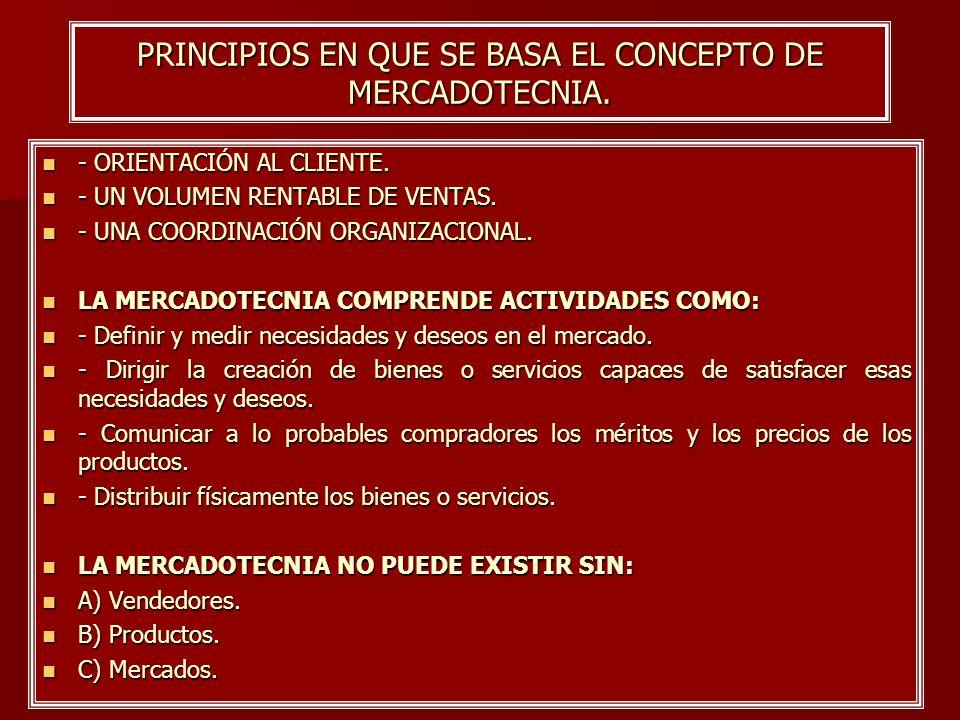 PRINCIPIOS EN QUE SE BASA EL CONCEPTO DE MERCADOTECNIA.