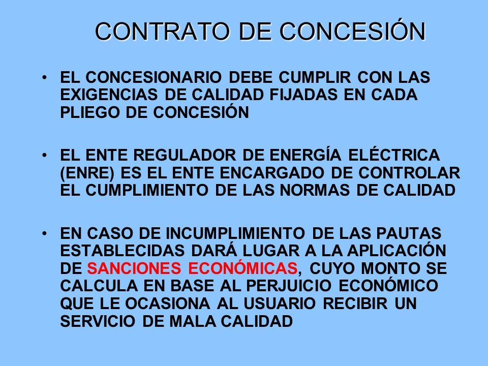 CONTRATO DE CONCESIÓN EL CONCESIONARIO DEBE CUMPLIR CON LAS EXIGENCIAS DE CALIDAD FIJADAS EN CADA PLIEGO DE CONCESIÓN.