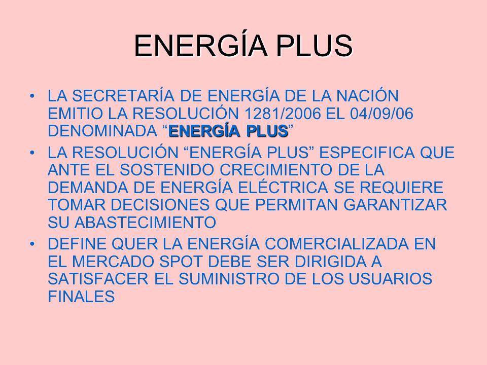 ENERGÍA PLUS LA SECRETARÍA DE ENERGÍA DE LA NACIÓN EMITIO LA RESOLUCIÓN 1281/2006 EL 04/09/06 DENOMINADA ENERGÍA PLUS