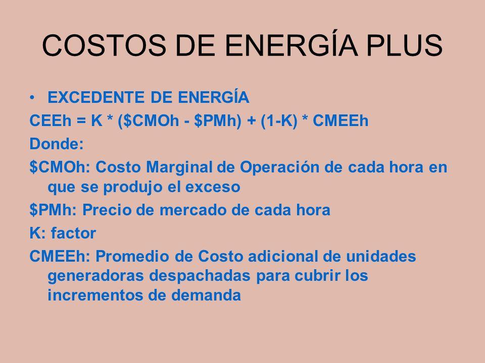 COSTOS DE ENERGÍA PLUS EXCEDENTE DE ENERGÍA
