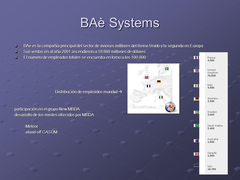BAè Systems BAe es la compañía principal del sector de aviones militares del Reino Unido y la segunda en Europa.