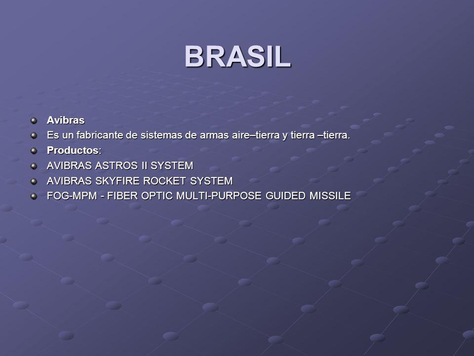BRASIL Avibras. Es un fabricante de sistemas de armas aire–tierra y tierra –tierra. Productos: AVIBRAS ASTROS II SYSTEM.