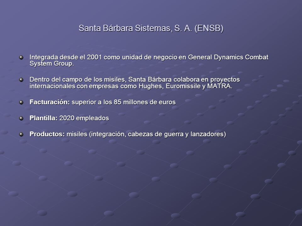 Santa Bárbara Sistemas, S. A. (ENSB)