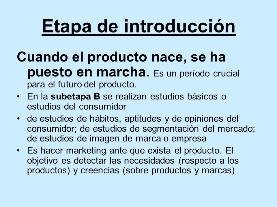 Etapa de introducción Cuando el producto nace, se ha puesto en marcha. Es un período crucial para el futuro del producto.