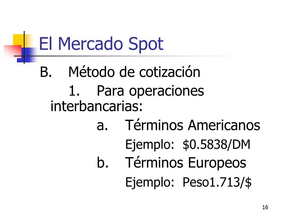 El Mercado Spot B. Método de cotización