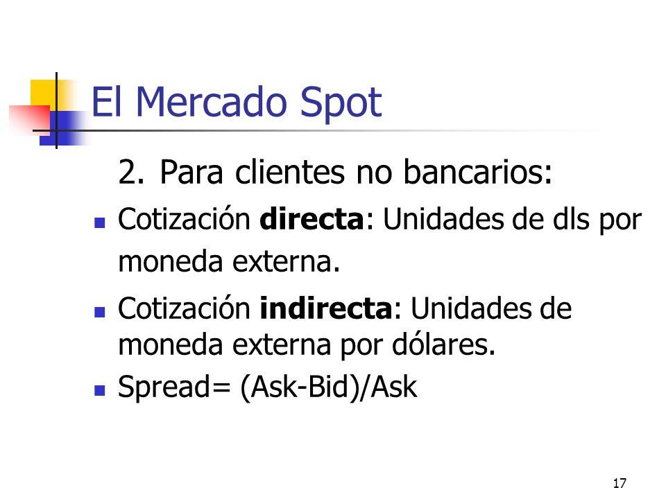 El Mercado Spot 2. Para clientes no bancarios: