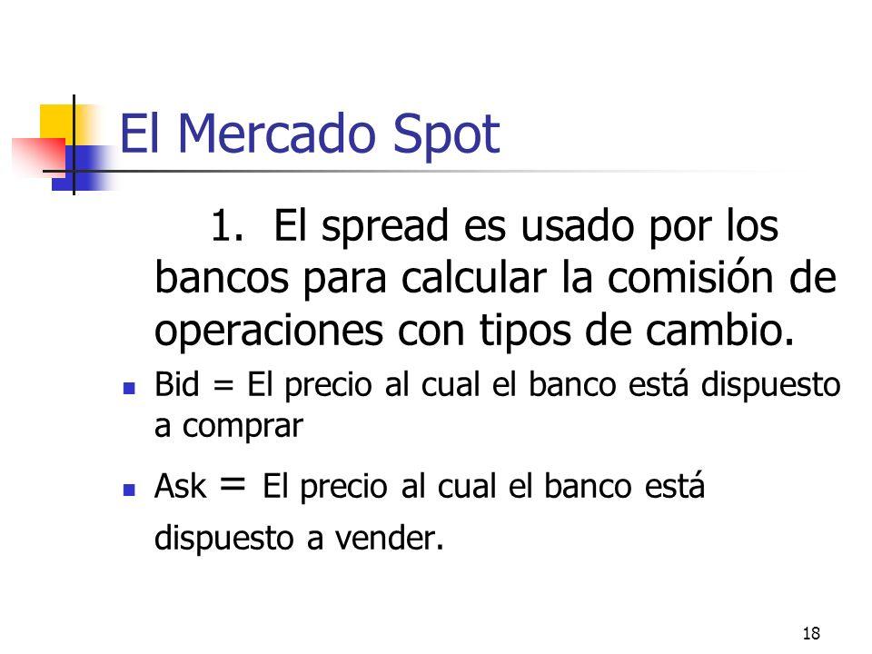 El Mercado Spot 1. El spread es usado por los bancos para calcular la comisión de operaciones con tipos de cambio.