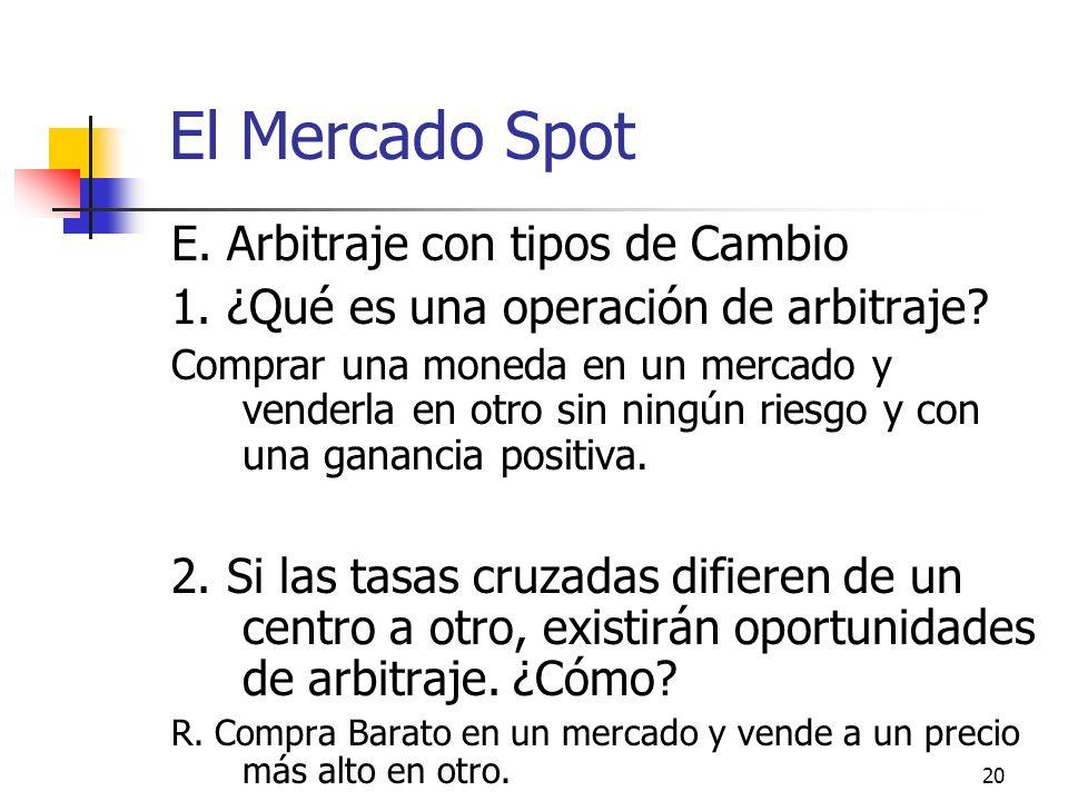El Mercado Spot E. Arbitraje con tipos de Cambio