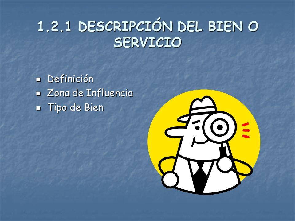 1.2.1 DESCRIPCIÓN DEL BIEN O SERVICIO