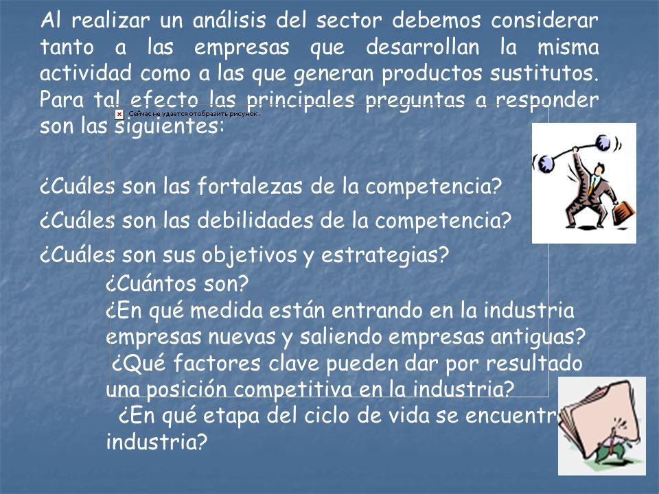 Al realizar un análisis del sector debemos considerar tanto a las empresas que desarrollan la misma actividad como a las que generan productos sustitutos. Para tal efecto las principales preguntas a responder son las siguientes: