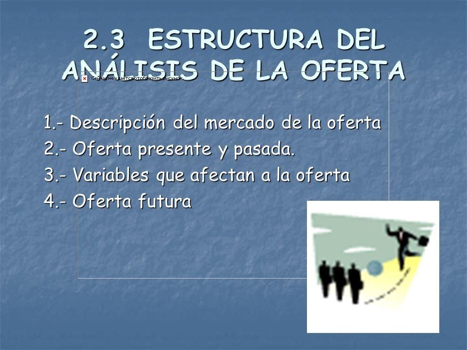 2.3 ESTRUCTURA DEL ANÁLISIS DE LA OFERTA