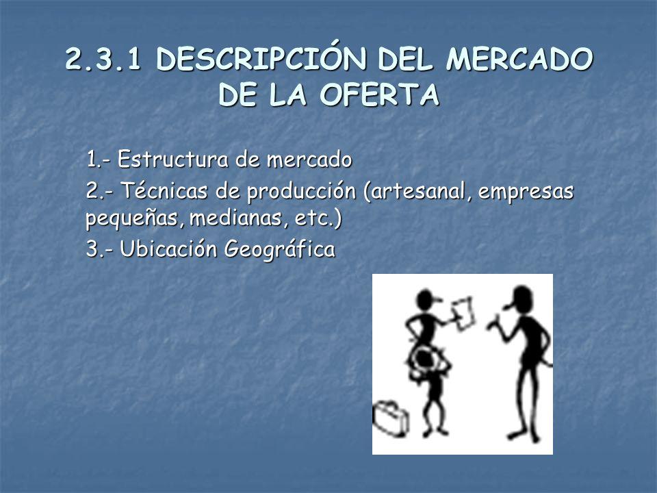 2.3.1 DESCRIPCIÓN DEL MERCADO DE LA OFERTA