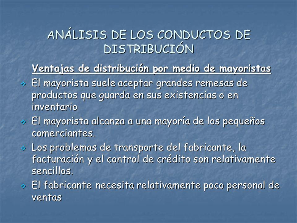 ANÁLISIS DE LOS CONDUCTOS DE DISTRIBUCIÓN
