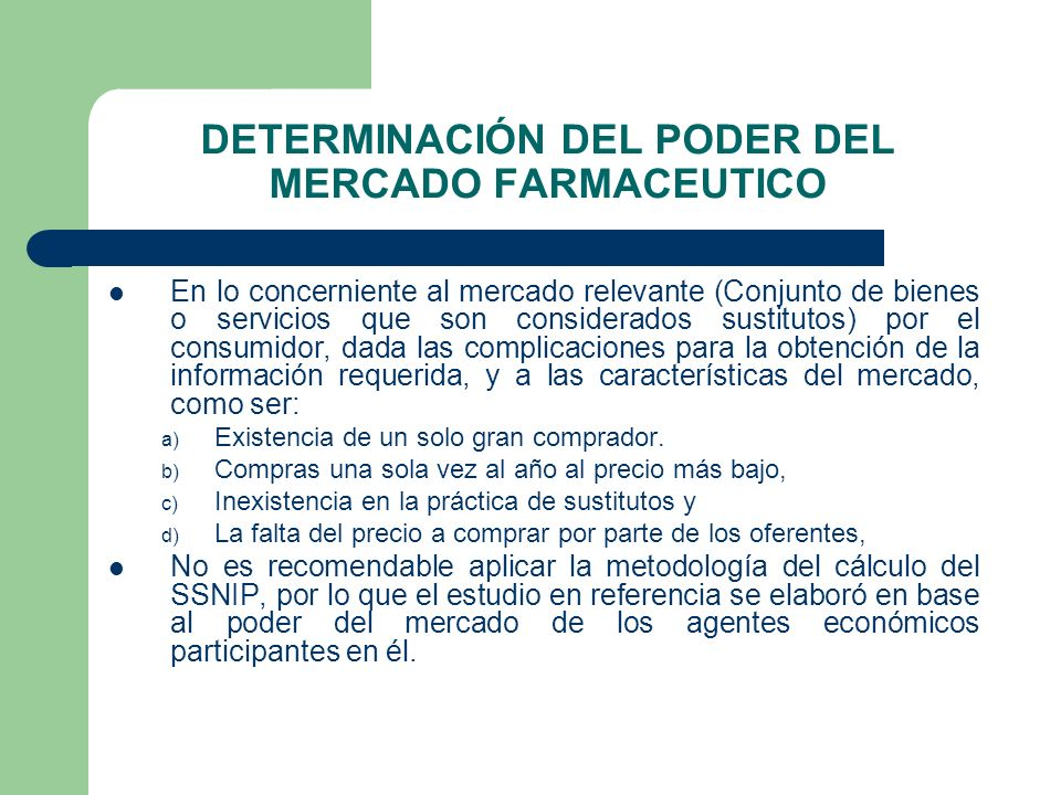 DETERMINACIÓN DEL PODER DEL MERCADO FARMACEUTICO
