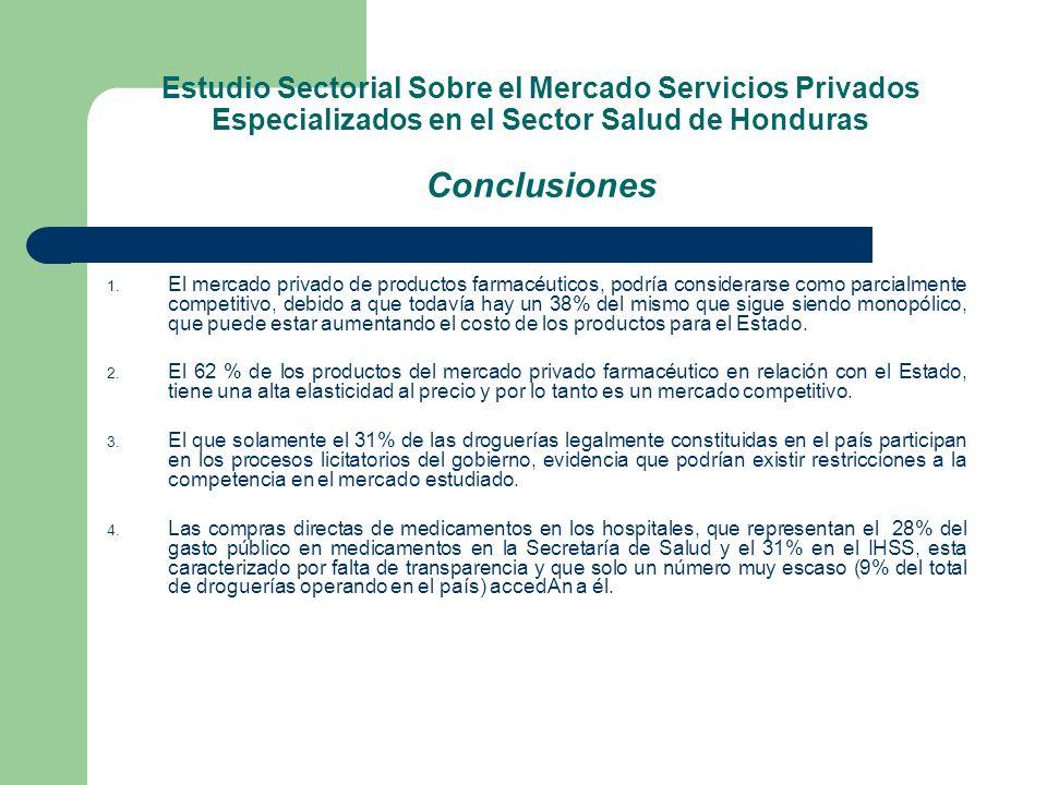 Estudio Sectorial Sobre el Mercado Servicios Privados Especializados en el Sector Salud de Honduras Conclusiones