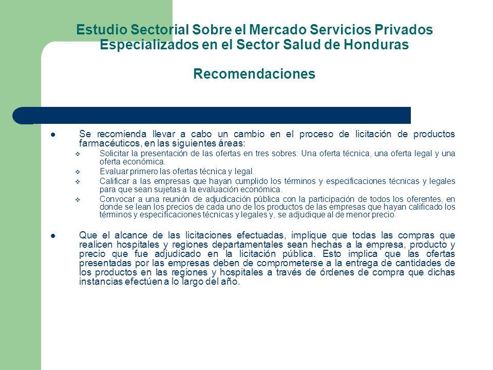 Estudio Sectorial Sobre el Mercado Servicios Privados Especializados en el Sector Salud de Honduras Recomendaciones