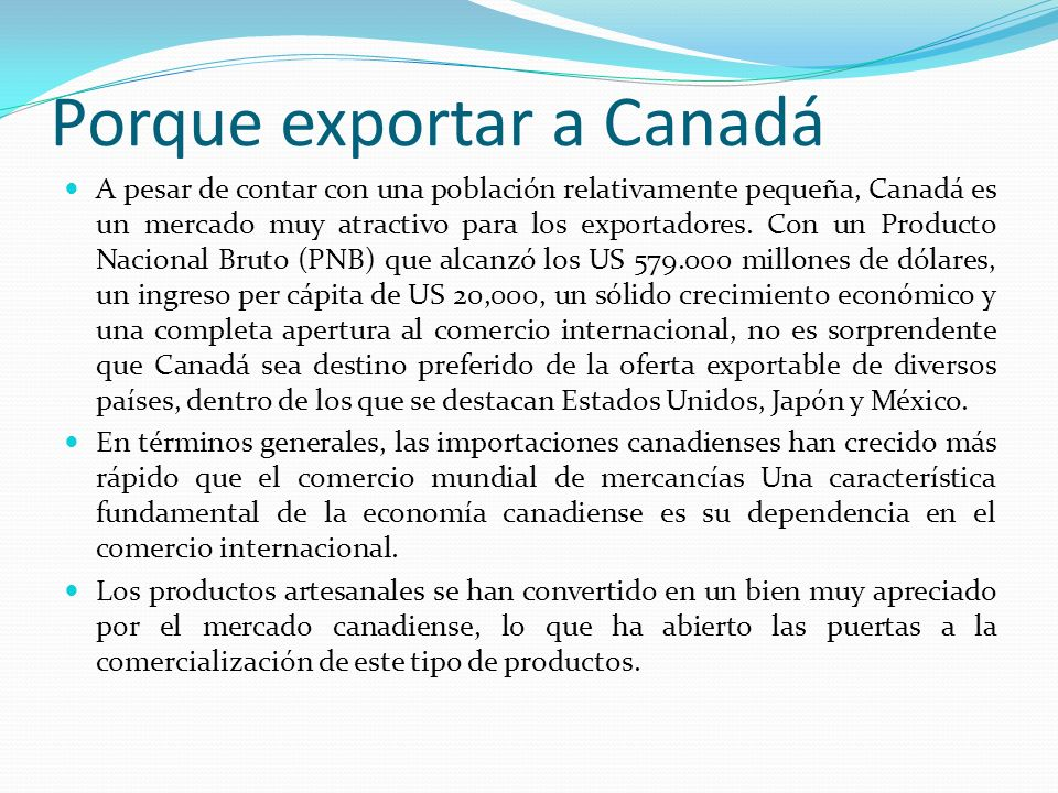 Porque exportar a Canadá