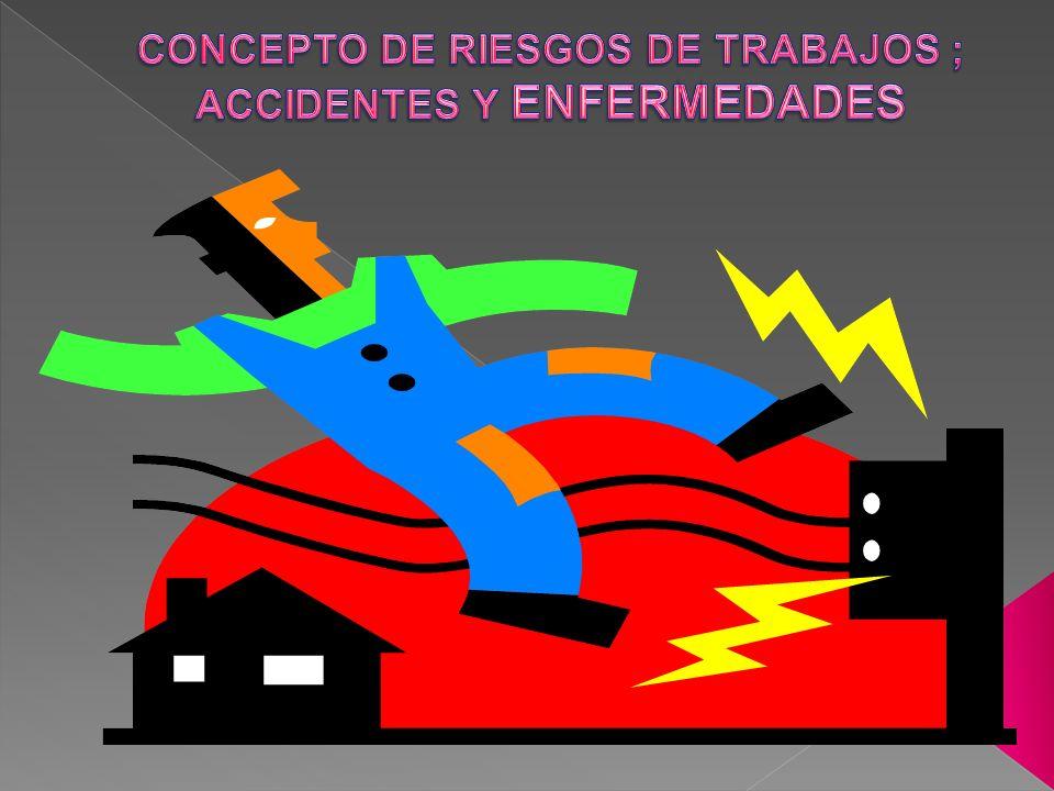 CONCEPTO DE RIESGOS DE TRABAJOS ; ACCIDENTES Y ENFERMEDADES