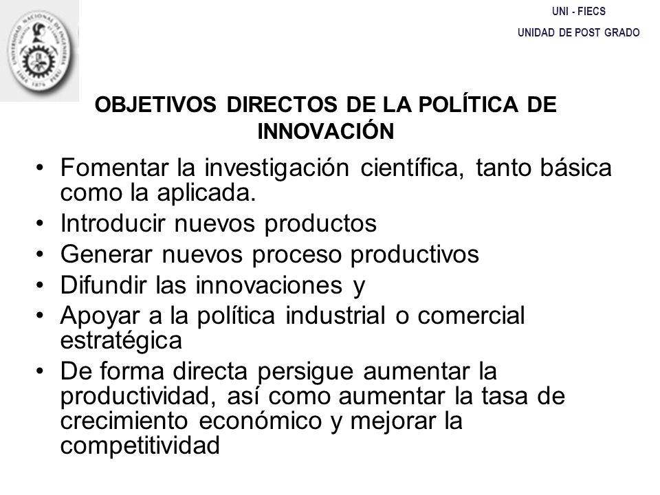 OBJETIVOS DIRECTOS DE LA POLÍTICA DE INNOVACIÓN