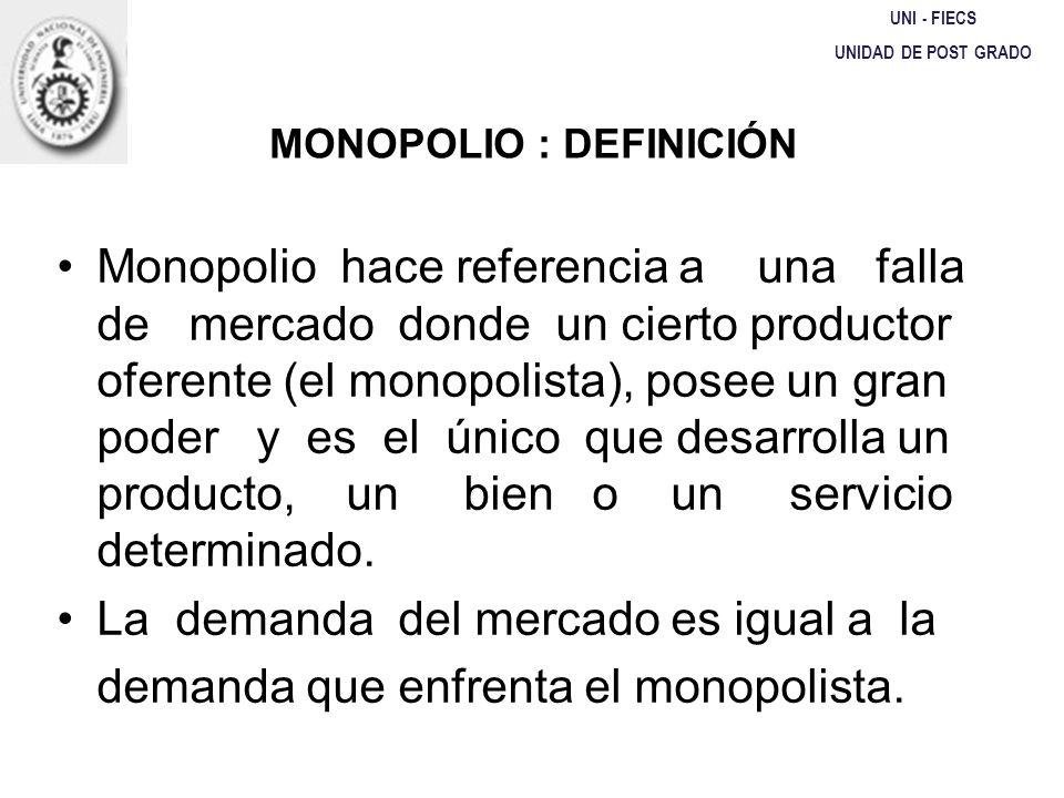 MONOPOLIO : DEFINICIÓN